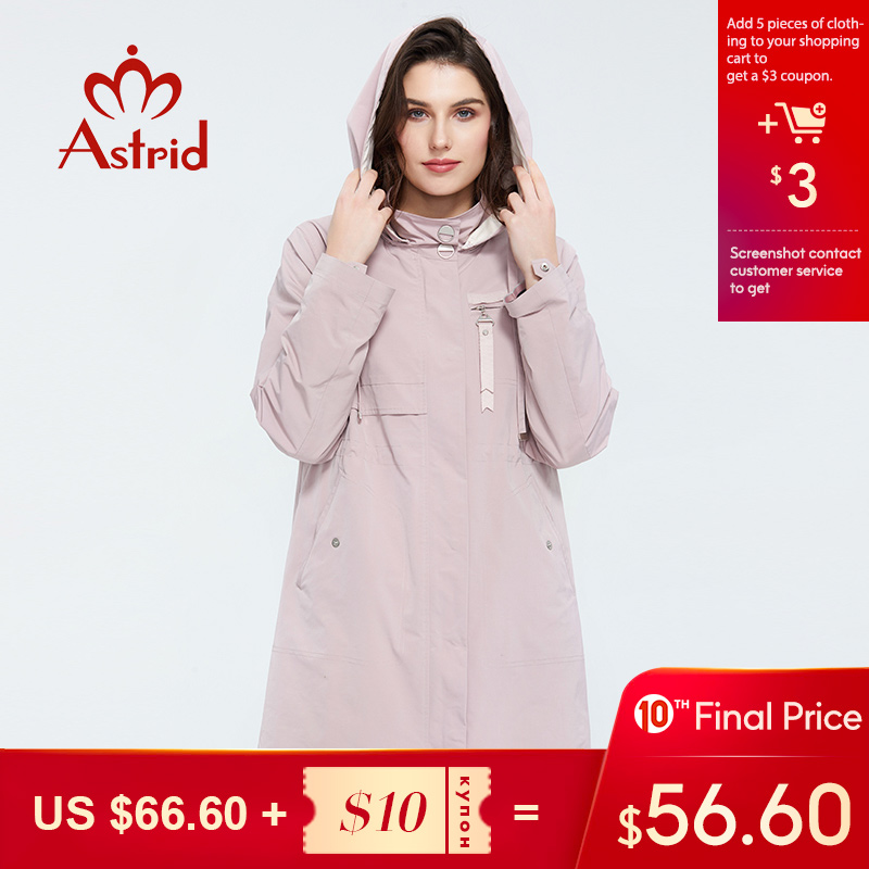 Astrid 2020 New Arrival Spring Young Fashion Mid-length Trench Coat High Quality Female Outwear Casual Jacket  Hooded ZS-3501
