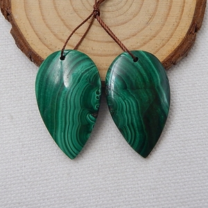 Image 5 - Water Drop Green Color Semi Finished Products Natural Stone Malachite Handmade Earrings For Women 33x20x5mm 14.7g