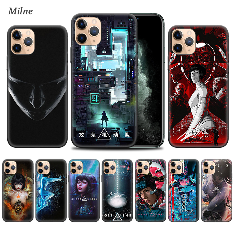 <font><b>Ghost</b></font> <font><b>in</b></font> <font><b>the</b></font> <font><b>Shell</b></font> <font><b>Case</b></font> for Apple iphone 11 Pro XS Max XR X 7 8 6 6S Plus 5 5S SE 5C Black Soft Bag Phone Cover Coque image