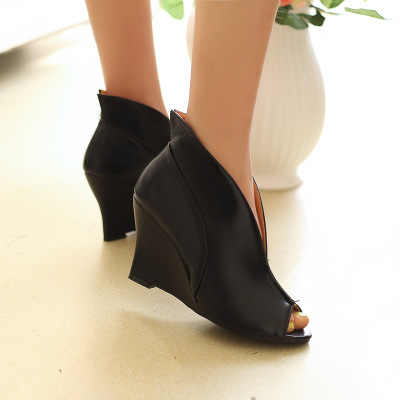 Yeni moda kadın deri çizme burnu açık takozlar çıplak bileğe kadar bot Casual düz ayakkabı roma yüksek topuklu çizmeler sandalet zapatos de mujer