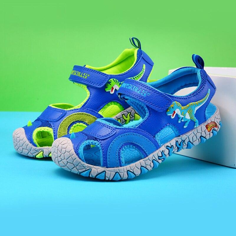 2021 спортивная детская летняя обувь; Сандалии для мальчиков с объемным динозавром; Повседневные детские пляжные сандалии из искусственной к...