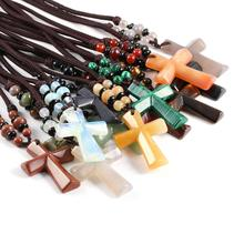 Wholesale New Design Pendant Necklaces Chokers Fashion Bohemian Jewelry Natural Stone Cross for Women Men 66cm