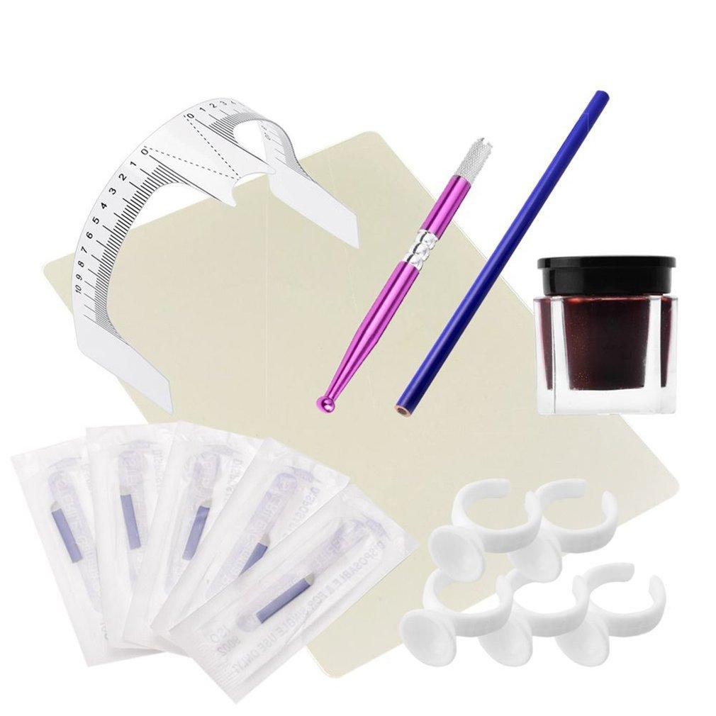 1 Set Practical Makeup Microblading Eyebrow Tattoo Kits Pen Needle Paste Skin Ruler Beauty Girls Great For Beginners Body Art