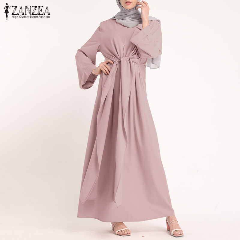 ZANZEA Muslim Dresses Eid Mubarak Kaftan Dubai Abaya Turkey Fashion Hijab Dress Islam Clothing Maxi Sundress For Women Vestidos 2