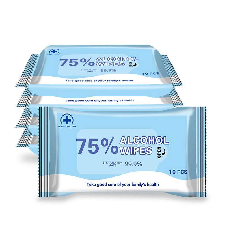 50pcs Portable Antiseptic 75% Alcohol Pads Disposable Disinfectant Hand Skin Cleaning Care Tools Cotton Wet Wipes