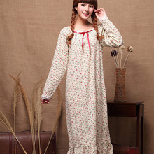 Nightdress Sleepwear Long-Sleeves Loose Princess-Style Ladies Small Autumn Flower Spring