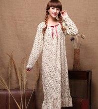İlkbahar sonbahar bayanlar uzun kollu % 100% pamuk küçük çiçek uzun gevşek bahçe prenses tarzı gecelik pijama ev giyim