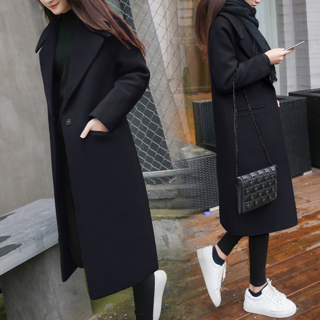 2019 New Women Coat Fashion  Blended Women Coat Slim Long Wool Coat Spring Autumn Women Wool Coats Popular Jackets 2