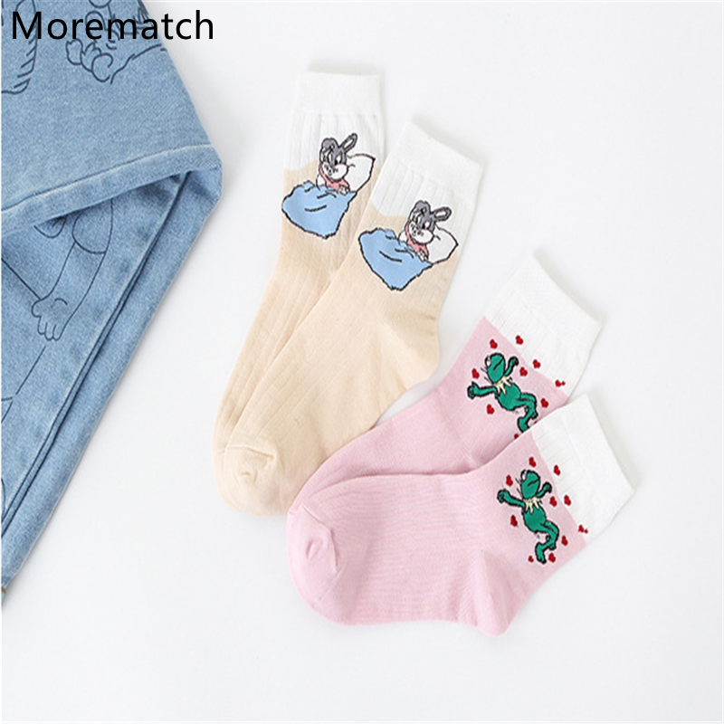 Morematch 2019 Fashion Women'S Cotton Socks Frog Rabbit Pattern Cartoon Socks Retro Animation Middle Tube Socks Size 5.5-10