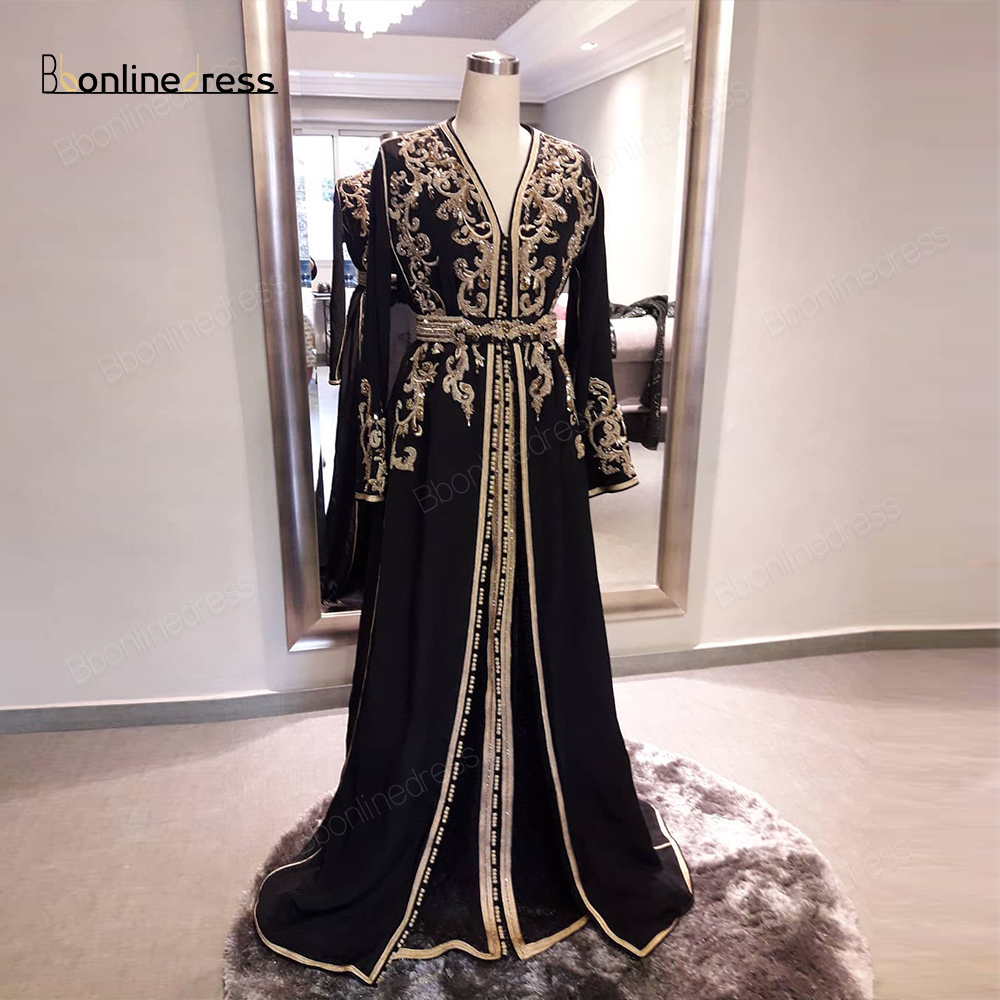 Bbonlinedress Moroccan Kaftan Evening Dresses Embroidery Appliques Long Evening Dress Full Sleeve Arabic Muslim Party-Dress