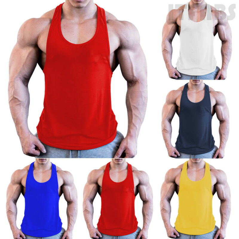 Man Body Building Stringer Quick Dry Gym Outwear Stringer Sports Singlets Vest Fitness Yellow Blue Red White