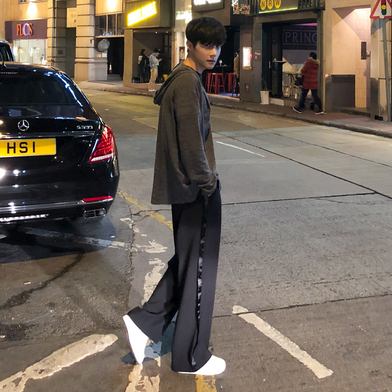 Harajuku Casual Wide Leg Port Wind Black Straight Striped Sports Pants Men's Trousers Spring And Autumn Loose Pants Casual Pants