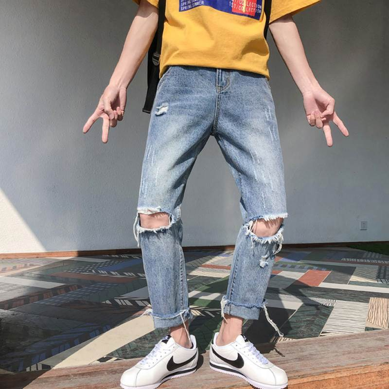 Fashion 2020 Summer men's thin loose streetwear Washing Ripped knee hole pants casual students Cowboy blue harem jeans hombre