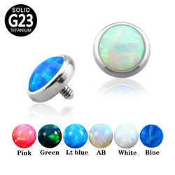 10PCS G23 Titanium Dermal Anchor Skin Diver Opal Stone Top Surface Micro Dermal Stud Piercing Body Jewelry Wholesale 14G 16G