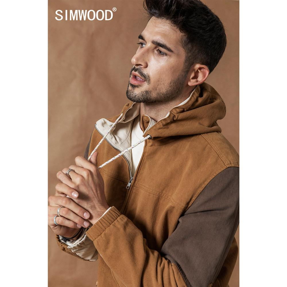 SIMWOOD Hooded Patchwork Contrast Color Jackets Men Vintage 100% Cotton Outerwear Plus Size Spring Winter New Field Coats 980586