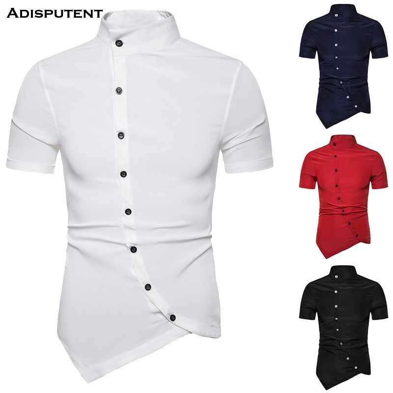 Adisputent 2019 Mens Button Down Shirts Korte Mouwen Casual Onregelmatige Hem Slim Fit Elastische Dunne Homme Party Summe Shirts Top