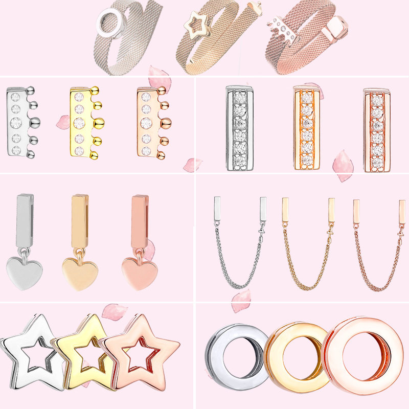 FEOLEO Genuine 925 Sterling Silver Clip Charms fit Original Pandora Reflexions Bracelets Charm for Women Rose Gold Color Jewelry(China)