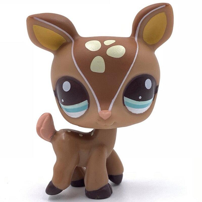 Old Original Pet Shop Toys Deer #2499 Fawn Mommy Brown Tan Beige Spots Blue Dot Eyes For Girls Collection