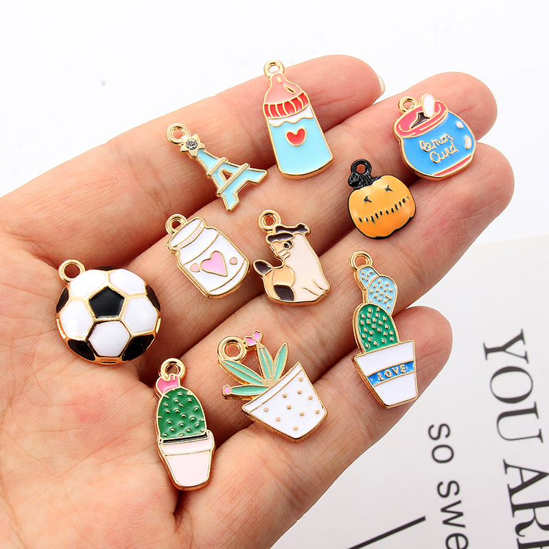 Charms Pendants for Jewelry Making Enamel Leaf Cactus Accessories DIY 10PCS