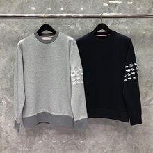 2021 moda tb thom marca primavera outono roupas de algodão dos homens manga padrão animal sweatshirts o pescoço casual casaco esportivo
