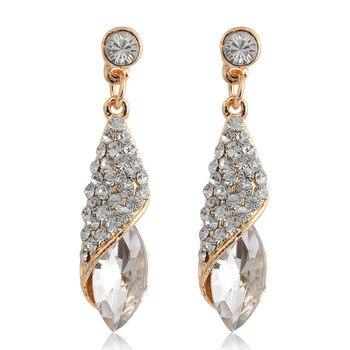 4 Colors Girls Vintage Fashion Acrylic tassel Earrings Women Crystal Water Drop earrings Jewelry Wedding Pierced Dangle Earrings 3
