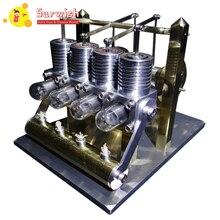 Domineering 4 цилиндра ряд баланс Модель двигателя Стирлинга игрушка-зеркальная полированная версия