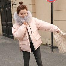 Fitaylor Faux Bontkraag Korte Parka Losse Down Katoen Jassen Winter Vrouwen Hooded Jassen Roze Zwart Bordeaux Sneeuw Uitloper