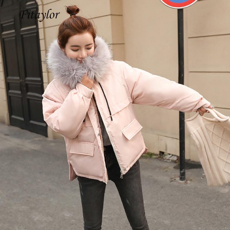Fitaylor Faux Fur Collar Short Parkas Loose Down Cotton Coats Winter Women Hooded Jackets Pink Black Burgundy Snow Outwear