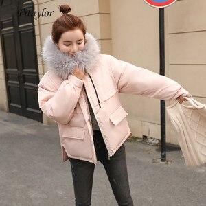 Image 1 - Fitaylor gola de pele do falso curto parkas solto casacos de algodão inverno feminino com capuz jaquetas rosa preto borgonha neve outwear