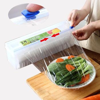 Folia spożywcza folia spożywcza plastikowa folia do cięcia folia do żywności dozownik do pakowania regulowana folia do przechowywania folia do przechowywania pudełko typu Organizer tanie i dobre opinie CN (pochodzenie) Transparent 33*10cm