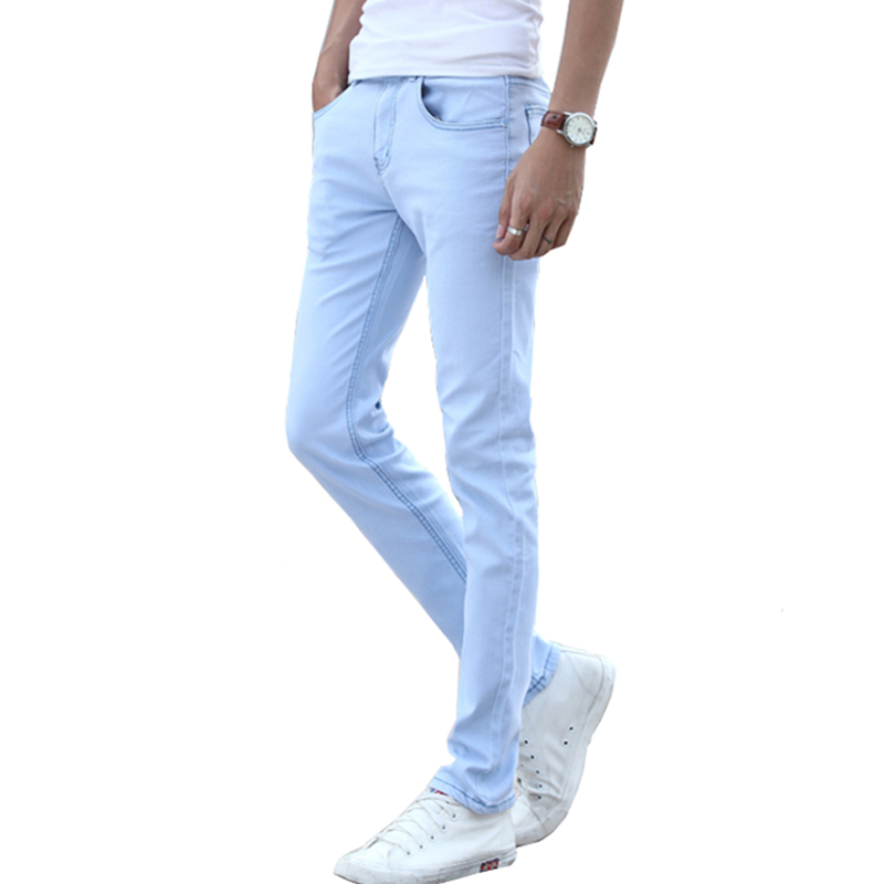 Sky Blue Men's Stretch Jeans 28 29 30 31 32 33 34 36 Teen Fashion Casual Man Trousers Slim Elegant Comfort Cotton Pants 2019