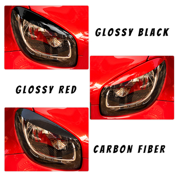 2 pièces sourcil de voiture pour Smart Fortwo Forfour 453 2015-2019 phare paupière autocollant phare couverture garniture autocollant voiture style