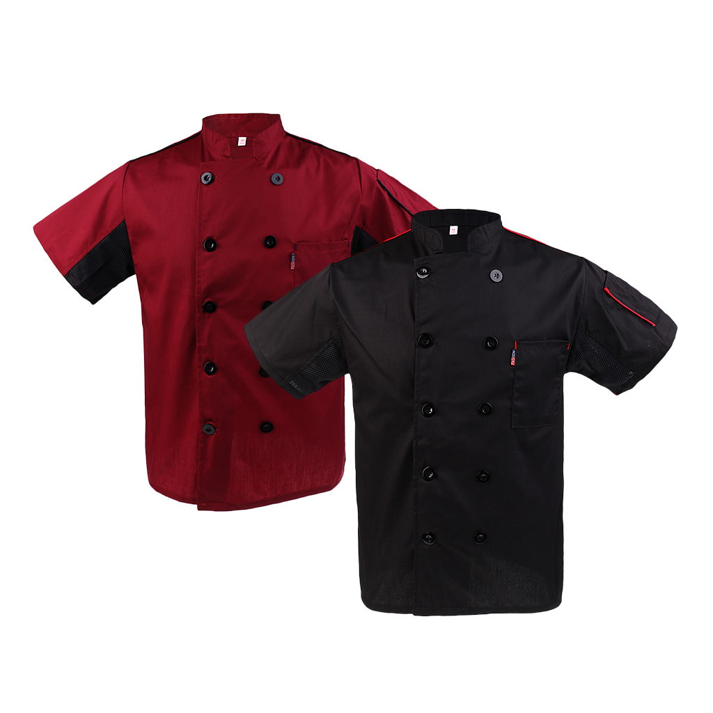 2/pack Chef Jacket Mesh Sleeves Summer Hotel Restaurant Kitchen Uniform Coat For Women Men