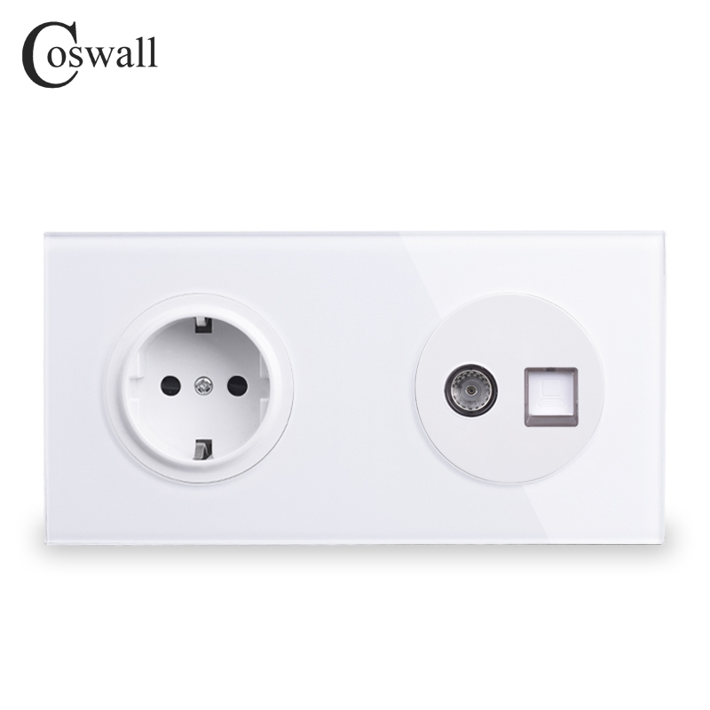 Coswall Crystal Tempered Glass Panel EU Wall Socket + Female TV Connector With CAT5E RJ45 Computer Jack 172*86mm R11 Series