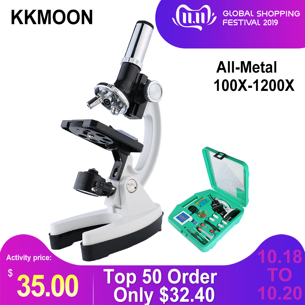 New 100X To 1200X Digital Microscope Set With Accessories Kit For Children Kids Students All-Metal 500X 800X 1000X Microscope
