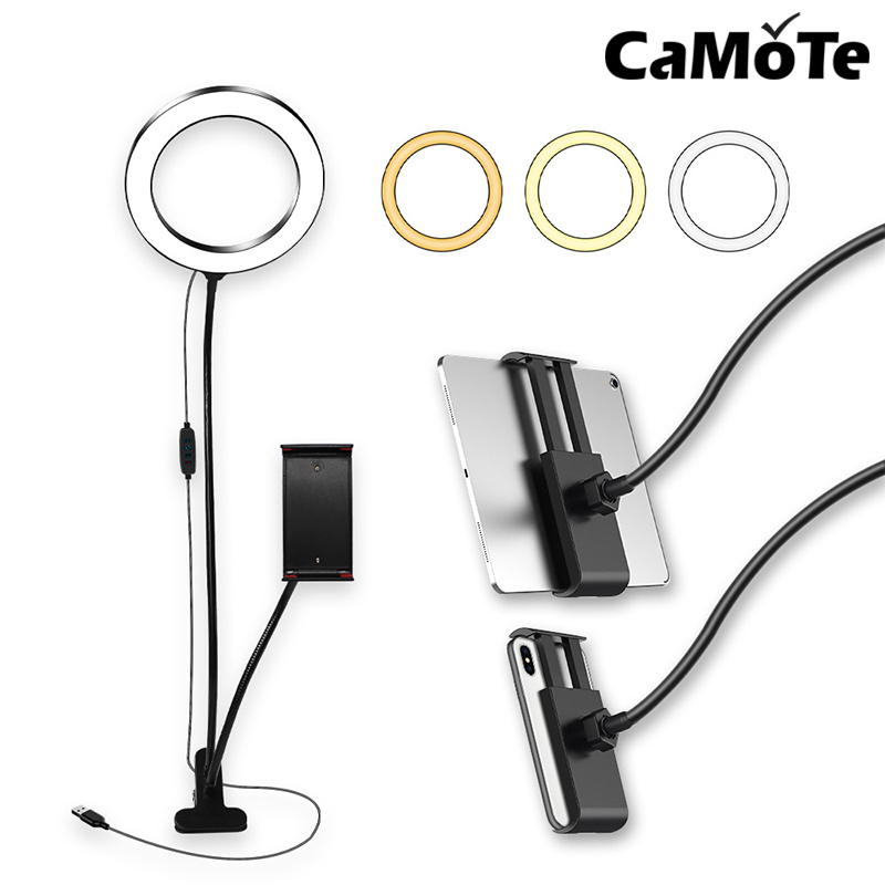 3 in 1 Smartphone Makeup phone holder stand beauty 8 inch 20cm 2in1 Ring flash Video Live Led ring light lamp Photography Photo