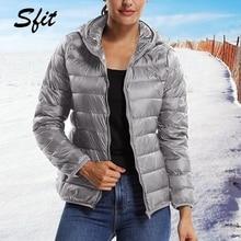 Sfit зимняя женская короткая парка, теплая тонкая короткая стеганая хлопковая куртка с карманами, пальто с капюшоном, однотонный легкий пуховик