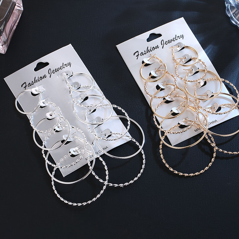 6 Pair Big Silver Hoop Earrings Set For Women Large Circle Round Earrings Gold Women's Ear Creoles Loop Classic Jewelry Gift