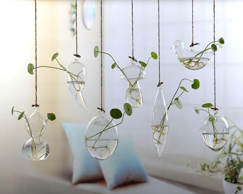 Flower Pots Glass Hanging Vase Wall Hanging Plants Terrarium Container Hydroponics Planters Transparent Flower Bottle Home Decor
