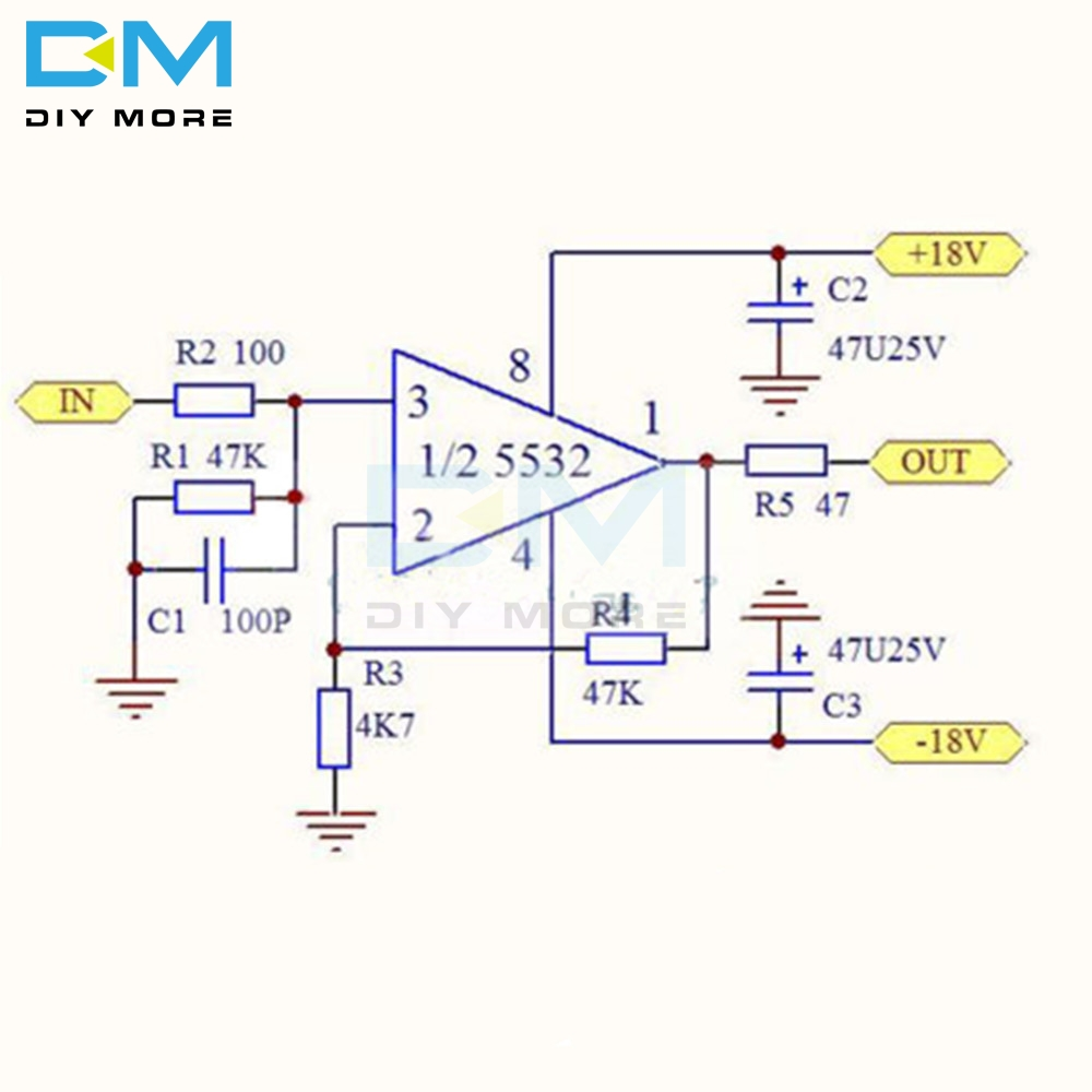 Dual OP Amp Board Preamp DC Amplification PCB DC Pre-Amp ...