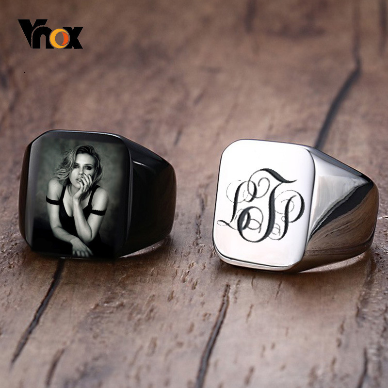 Vnox Personalized Mens Signet Rings Chunky Stainless Steel Boy Stamp Band Customize Engrave Male Jewelry Fraternal Rings BF Gift