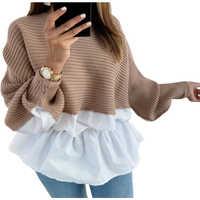 Winter Mode Rüschen gestrickte Jumper Pullover Patchwork Lose Shirt Lässig Streetwear Weibliche Frauen Langarm Blusas Pullover
