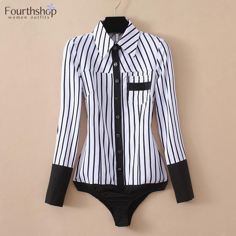 Bodysuits Women Blouses Tops Long-Sleeved Female Elegant Office Fashion Lady Striped