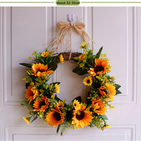 Wedding Party Sunflower Wreath Romantic Artificial Flower Party Decoration Handmade Door Hanging Party Gifts Flower Supplies