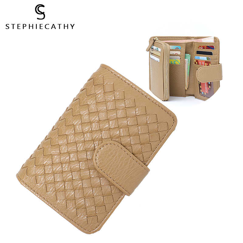 SC Brand Designer Functional Women Wallet Short Handmade Woven Small Wallet&Purse Candy Color Card Holder Cash Photo Wallet