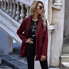 Autumn and Winter new Europe and America houndstooth plaid turn down women\'s clothing button suit jacket women\'s long sleeve