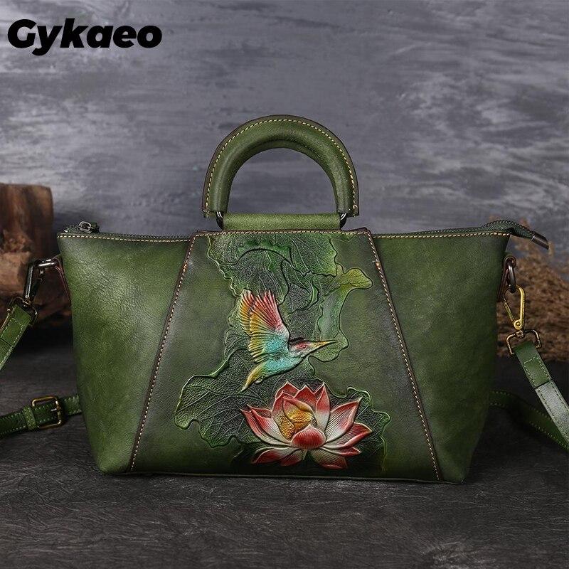 Gykaeo женская сумка из коровьей кожи, винтажная сумка мессенджер с тиснеными цветами ручной работы в стиле ретро, лето 2020