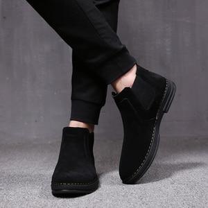 Image 3 - Mens moda di lusso stivali di pelle morbida slip on nero utensili scarpe di camoscio deserto chelsea bota nero botines caviglia militare hombre