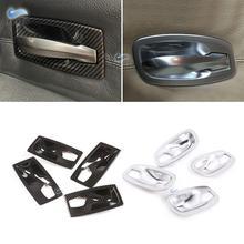 สำหรับBMW 5 Series E60 2004 2005 2006 2007 2008 2009 2010คาร์บอนไฟเบอร์TextureรถภายในประตูHandleชามกรอบป้องกัน