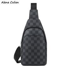 Sac à bandoulière en cuir pour hommes, sac de poitrine de marque, Design à carreaux, sacs à épaule de bonne qualité Durable, sac à épaule latéral, sac banane